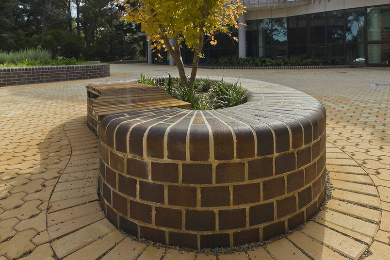 Bricks & Pavers dry pressed solid bricks used in a commercial setting.