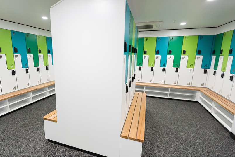 everroll® Vitality in locker room by PFL Spaces.