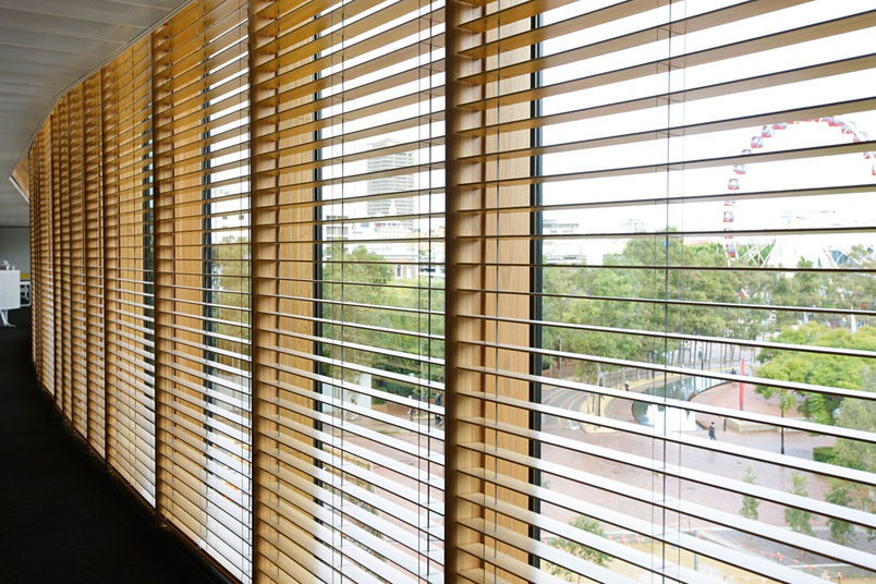 Specialty Timber Venetian Blinds at Darling Quarter, Sydney.