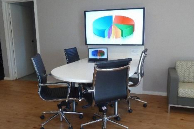 Huddles make it so easy to equip small meeting rooms, with the client's preferred technology integrated into the furniture.